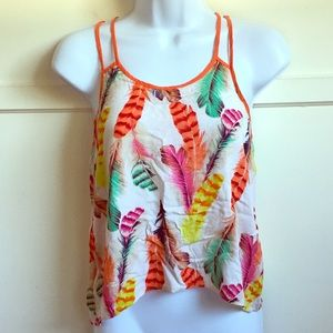Forever 21 Colorful Feather Spaghetti Strap Blouse